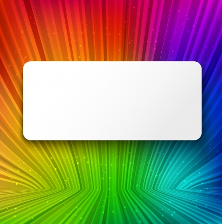 motion modern: White banner with shadow on colorful striped background. Vector illustration