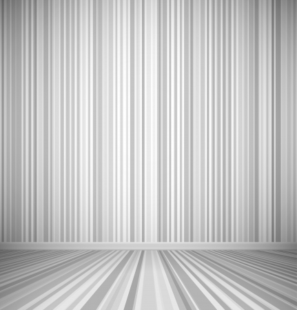 Gray empty room with striped wall and striped floor interior. Vector illustration