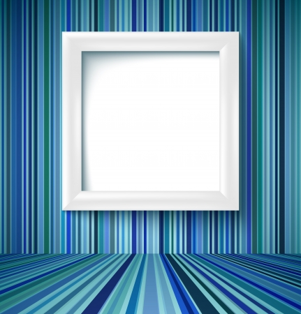 Empty room with white photo frame on striped wallpaper. Vector illustration