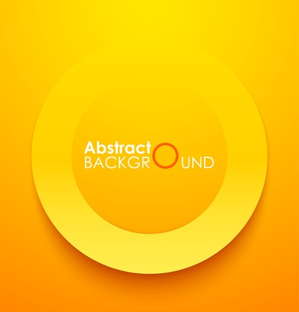 Paper orange circle banner with drop shadows. Vector illustration