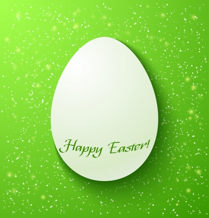 Paper card easter eggs on green background. Vector illustration Stock Vector - 18386888