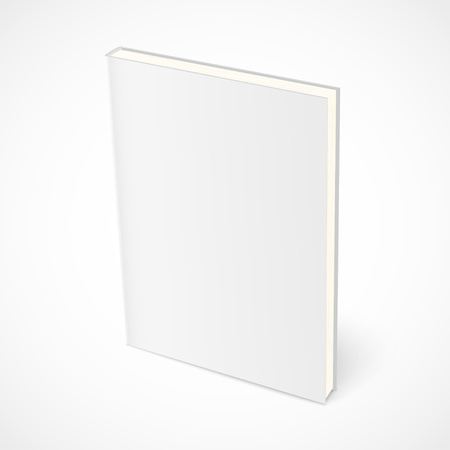 Empty standing book with white cover.