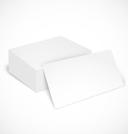stapel papieren: Stapel visitekaartjes met schaduw sjabloon. Stock Illustratie
