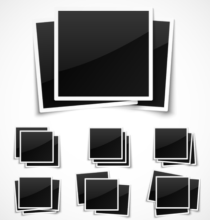 digital camera: Square empty photo frames on white background.