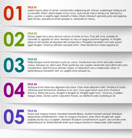 Infographics options banner, striped numbered banner.