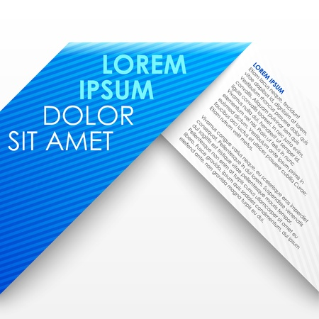 Blue paper origami banner template.  Ilustração