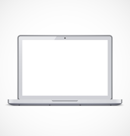 White laptop with white screen.  Stock Vector - 18650164