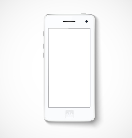 White mobile phone with white screen.  Vector