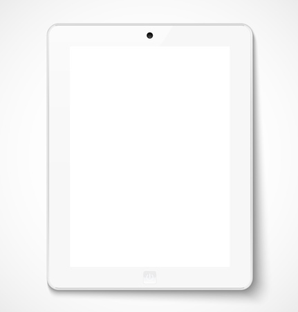 White tablet computer with white screen. Vector