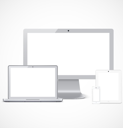 Set of white realistic display, laptop, tablet computer and mobile phone template