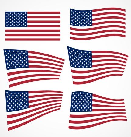 american flags: Conjunto de banderas americana ilustraci�n