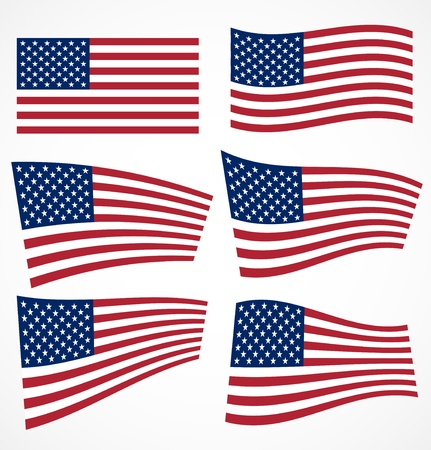 red flag up: Set of american flags  illustration