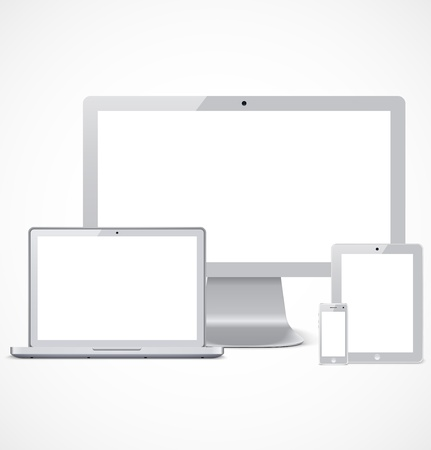 Set of gray realistic display, laptop, tablet computer and mobile phone template Ilustração