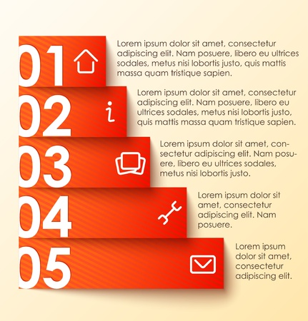 clean home: Infographics options banner, red striped numbered banner  illustration