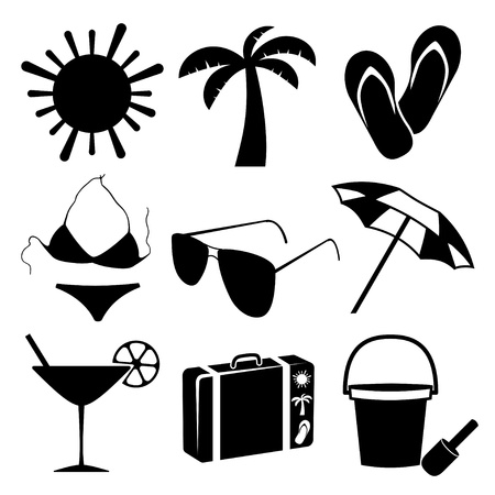 Summer and beach icons on white background  illustration Vector