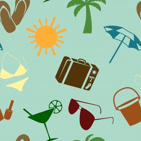 broun: Summer and beach seamless pattern illustration Illustration