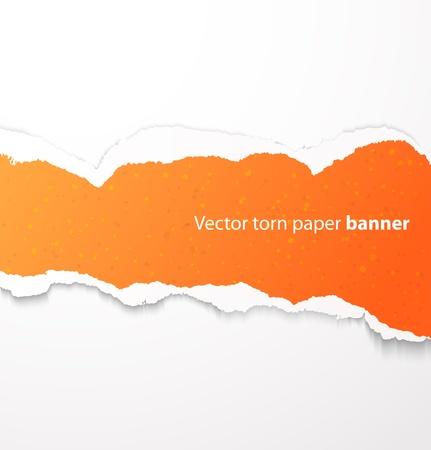 Orange torn paper rectangle banner with drop shadows. Vector illustration