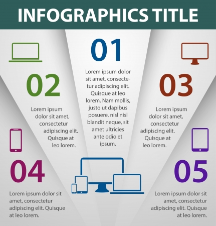 Graph design infographics template, numbered banners  Vector illustration Vectores
