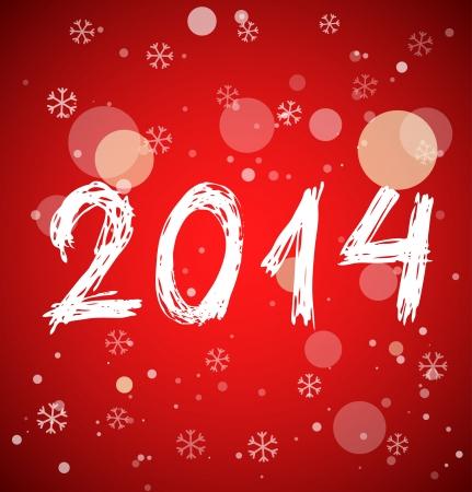 빨간색 배경에 스케치 스타일의 화이트 새로운 2014 년. 벡터 일러스트 레이 션