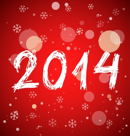White new year 2014 in sketch style on red background. Vector illustration
