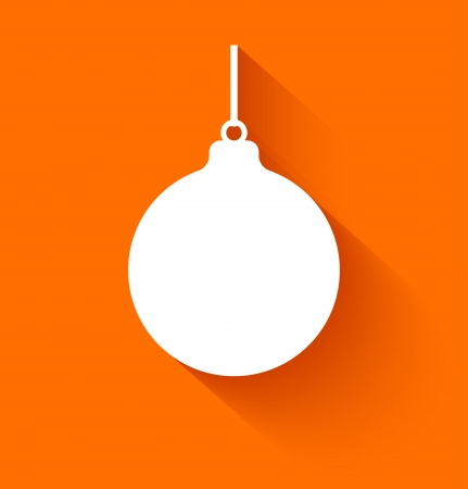 christmas ball: Abstract christmas ball in flat style on orange background. Vector illustration