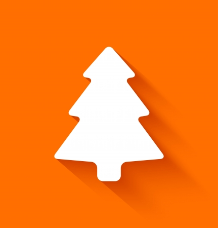 Abstract christmas tree in flat style on orange background. Vector illustration Vector