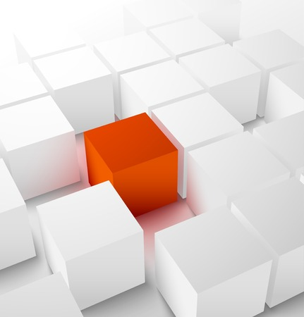 Abstract 3D cubic background with red glowing cube . Vector illustration Ilustração