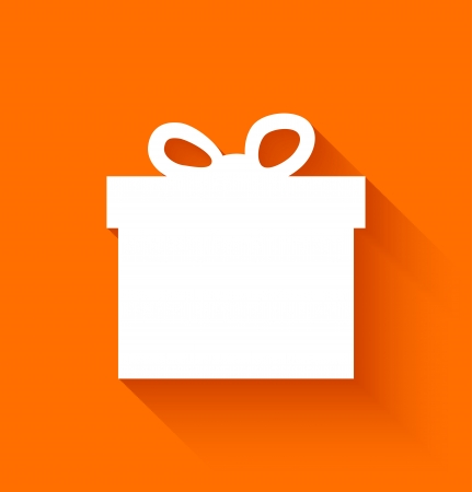 Abstract christmas gift box in flat style on orange background. Vector illustration Иллюстрация