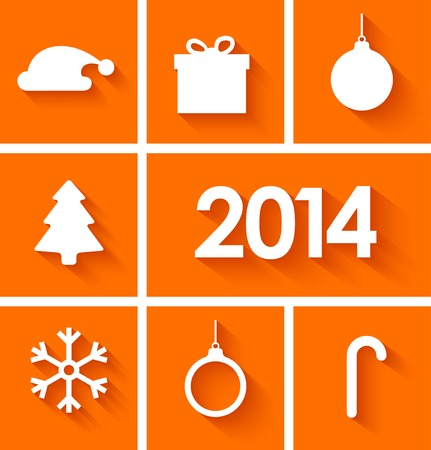Icons set of new year 2014 in flat style on orange background. Vector illustration