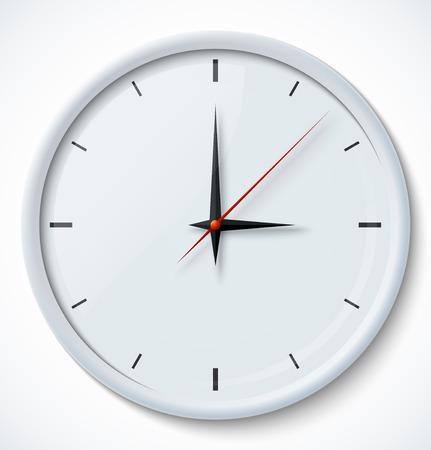reloj pared: Icono de reloj blanco con la sombra. Ilustración vectorial