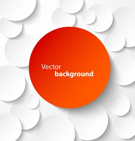 Red paper circle banner with drop shadows on white abstract background. Vector illustration Vectores