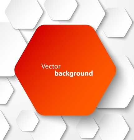Red paper hexagon banner with drop shadows on white background. Vector illustration