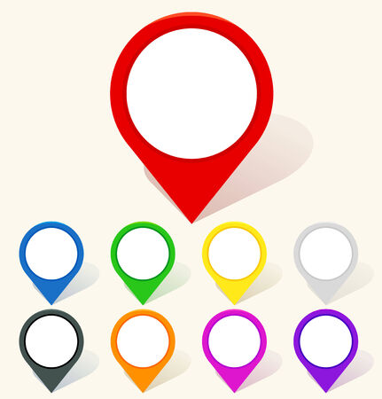 map marker: Colorful map pin icon in flat style. Vector illustration Illustration
