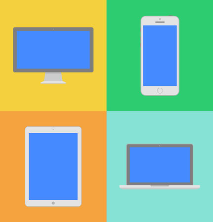 Display, laptop, tablet computer and mobile phone template with blue screen in flat style  Vecror illustration Vector
