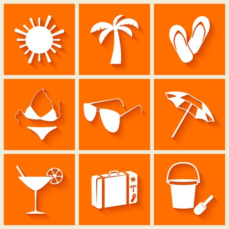 Summer and beach icons in flat style on orange background  Vector illustration
