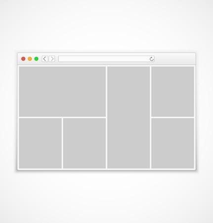 플랫 스타일 벡터 일러스트 레이 션 흰색 배경에 추상적 인 내용이 웹 브라우저 창