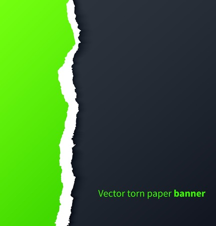 ripped: Green torn paper with drop shadows on dark background  Vector illustration Illustration