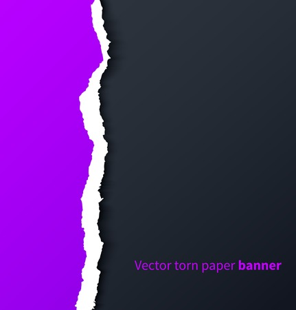 3d art: Purple torn paper with drop shadows on dark background  Vector illustration