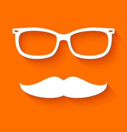 White hipster glasses and mustache on orange background  Vector illustration Vector
