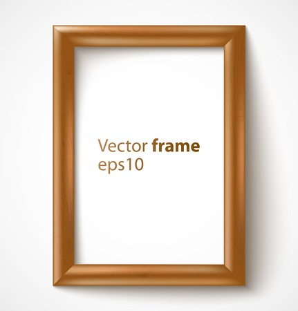 Light wooden rectangular 3d photo frame with shadow  Vector illustration