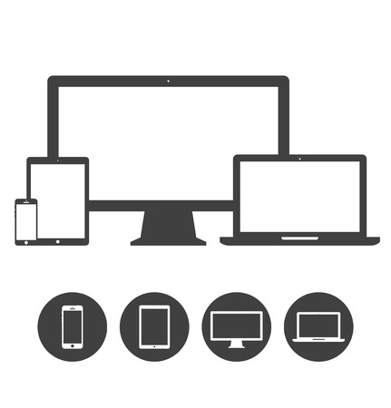 Set of display, laptop, tablet and mobile phones electronic device icons template  Vector illustration Çizim