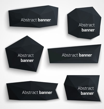 Set of abstract black banners, modern style design labels or bubbles  Vector illustration Vector