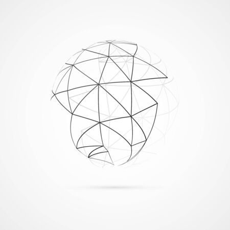 Abstract sphere with lines on white background  Vector illustration Vector