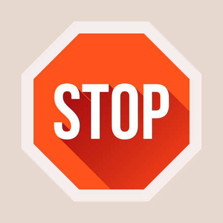 sign in: Stop sign with long shadow in flat style  Vector illustration