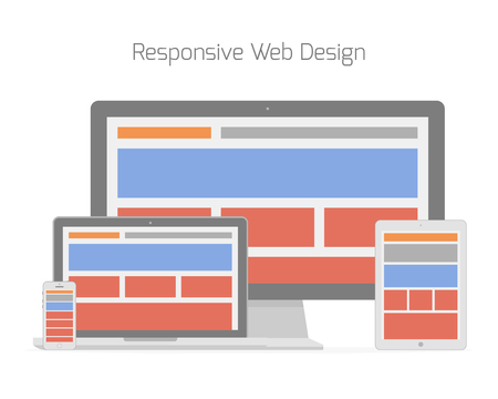 Responsive web design in different electronic devices.  Vector