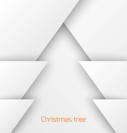 White abstract Christmas tree paper applique. Illustration