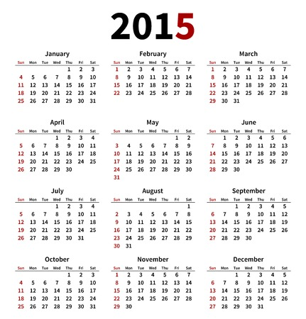 Simple 2015 year calendar on white background. Vector