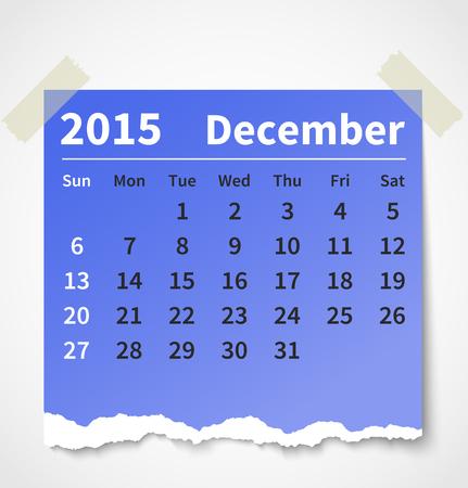 Calendar December 2015 colorful torn paper.