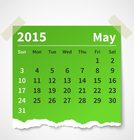 Calendar may 2015 colorful torn paper. Vector