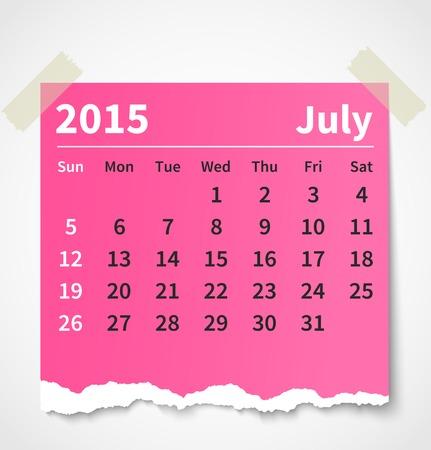 Calendar july 2015 colorful torn paper.  Illustration